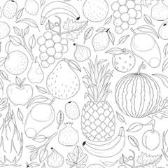 Vector seamless fruits pattern.
