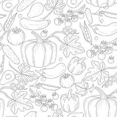 Vector seamless vegetables pattern.