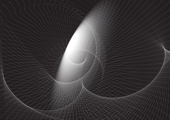 geometric pattern of white lines on a black background