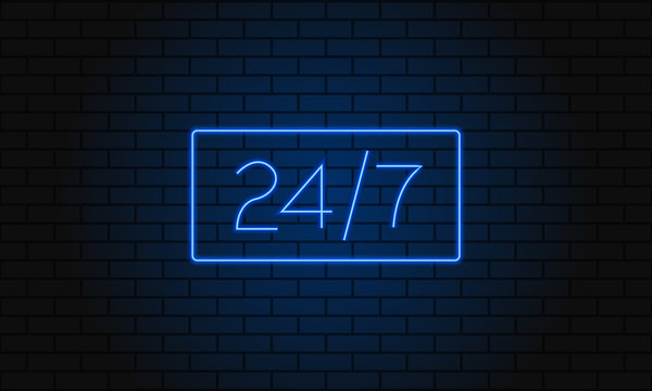 Open 24 7 Hours Neon Light on Brick Wall. Vector Illustration. 24 Hours Night Club Bar Neon Sign.