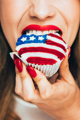 Big Bite of American Flag Cupcake