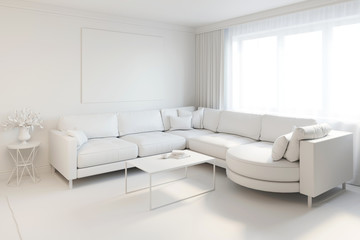 3d illustration of white interior without materials