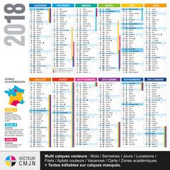 Calendrier français 2018 avec vacances scolaires et zones académiques