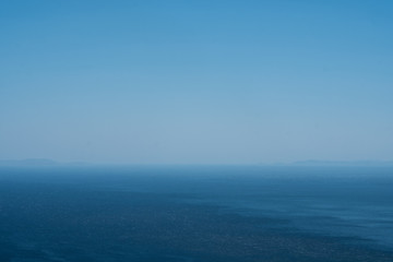 Horizon over Aegean Sea and below the clear sky