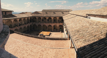 A view of the piazza and courtyard at St. Francis of Assisi in Italy
