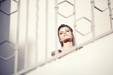 Beautiful Teen Sitting at Romantic Stairs
