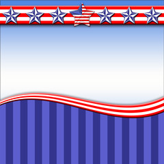 Template, usable for Labor Day and 4th of July, beautiful background Blue, white and red colors, stars designed with american flag on surface. Blank space, copy space.