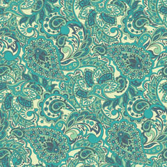 Paisley Floral ethnic seamless Pattern.