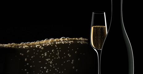 Champagner-Motiv vor Schwarz 3