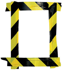 Yellow Black Caution Warning Tape Notice Sign Frame Vertical Adhesive Sticker Background Diagonal...