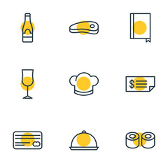 Vector Illustration Of 9 Eating Icons. Editable Pack Of Wineglass, Card, Alcohol And Other Elements.