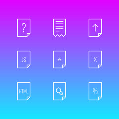 Vector Illustration Of 9 File Icons. Editable Pack Of Remove, Script, Question And Other Elements.