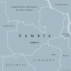 Zambia political map with capital Lusaka, international borders and neighbors. Republic and landlocked country in Southern Africa. Former Northern Rhodesia. Gray illustration. English labeling. Vector
