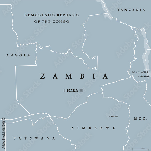 Zambia political map with capital Lusaka, international borders and ...