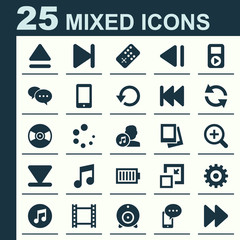 Media Icons Set. Collection Of Turntable, Decrease, Film And Other Elements. Also Includes Symbols Such As Backward, Synchronize, Full.