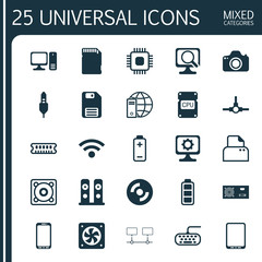 Hardware Icons Set. Collection Of Loudspeakers, Network Structure, File Scanner And Other Elements. Also Includes Symbols Such As Card, Ram, Dynamic.