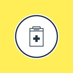 Vector Illustration Of Medical Kit Outline. Beautiful Medicine Element Also Can Be Used As Exigency Element.