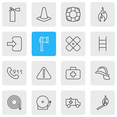 Vector Illustration Of 16 Extra Icons. Editable Pack Of Stairs, First-Aid, Lifesaver And Other Elements.