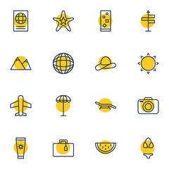 Vector Illustration Of 16 Summer Icons. Editable Pack Of Melon, Photo Apparatus, Umbrella And Other Elements.