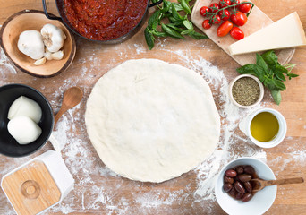 Pizza dough on the table