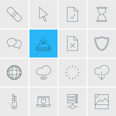 Vector Illustration Of 16 Web Icons. Editable Pack Of Sandglass, Wave, Pointer Elements.