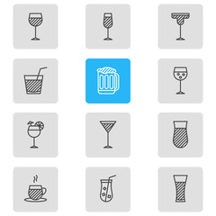 Vector Illustration Of 12 Drinks Icons. Editable Pack Of Cocktail, Martini, Champagne And Other Elements.