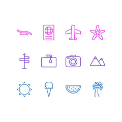 Vector Illustration Of 12 Season Icons. Editable Pack Of Airplane, Certificate, Suitcase And Other Elements.