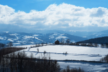 Winter snowy landscape.Colored photo