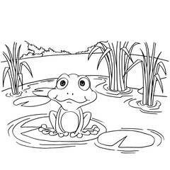 Cartoon frog on lily pad at lake coloring page vector