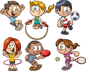Cartoon kids playing. Vector clip art illustration with simple gradients. Each on a separate layers.