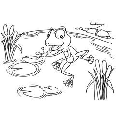 Cartoon frog at lake coloring page vector