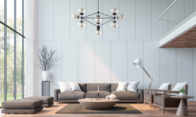 Wall Mural - Modern living room with mezzanine 3d rendering image.There are wooden floor decorate wall with groove.furnished with brown fabric furniture.There are large windows look out to see the nature