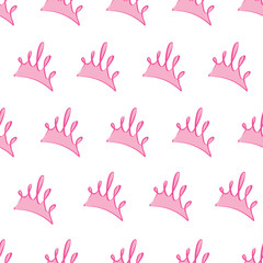 light pink princess crowns pattern background, seamless texture