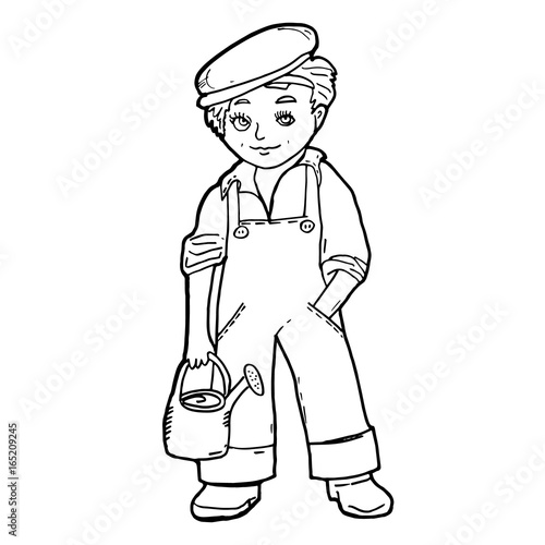 Little Boy With Garden Watering Can Gardener Job Characters Black Contour Illustration