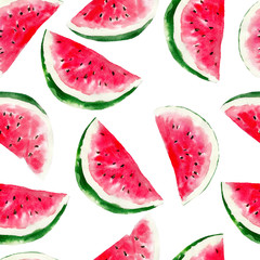 Watermelon watercolor seamless pattern. Bright tropical fruit isolated on white background, hand-drawn design for background, wallpaper, textile, wrap and etc.