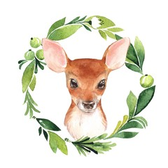 Baby Deer and floral frame