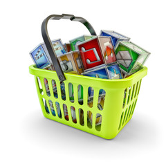 Multimedia applications sale and online store market concept, green shopping basket full of colorful cubes with media app icons, isolated on white background