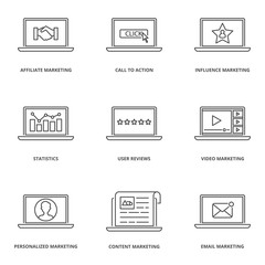 Internet marketing vector icons set
