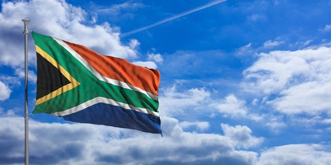 South Africa waving flag on blue sky. 3d illustration