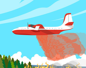 A fire plane extinguishes a forest fire high in the mountains. Vector illustration