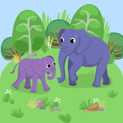 Card with adult and young elephant in natural background / Domestic animals in cartoon style