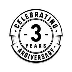 3 years anniversary logo template. Vector and illustration.