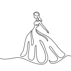 Silhouette of a slender woman bride in a long dress. Continuous line drawing. Vector illustration