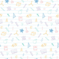 Welcome back to school doodles seamless pattern