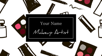 Makeup artist business card template. Set Hand-drawn cosmetics seamless pattern with place for your text. Cosmetic banner. Vector beauty illustration
