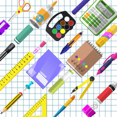 A set of stationery for schoolchildren, goods for creativity and study