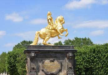 Aluminium Prints Historic monument goldener Reiter Statue in Dresden Germany