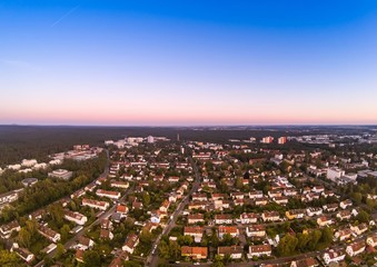 Summer evening aerial image of the city of Erlangen in Bavaria in Germany