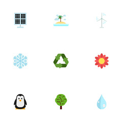 Flat Icons Water, Sun Power, Electric Mill And Other Vector Elements. Set Of Nature Flat Icons Symbols Also Includes Blob, Snow, Water Objects.