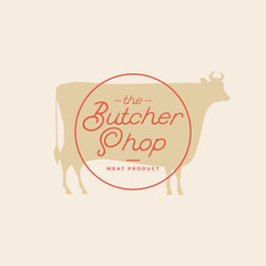 Butcher shop logo. Butchery label with sample text. Silhouette of cow.